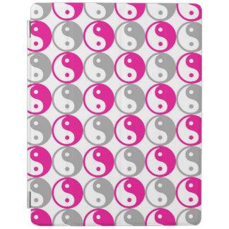 Pink and grey yin yang circles pattern iPad cover