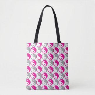 Pink and grey yin yang pattern tote bag