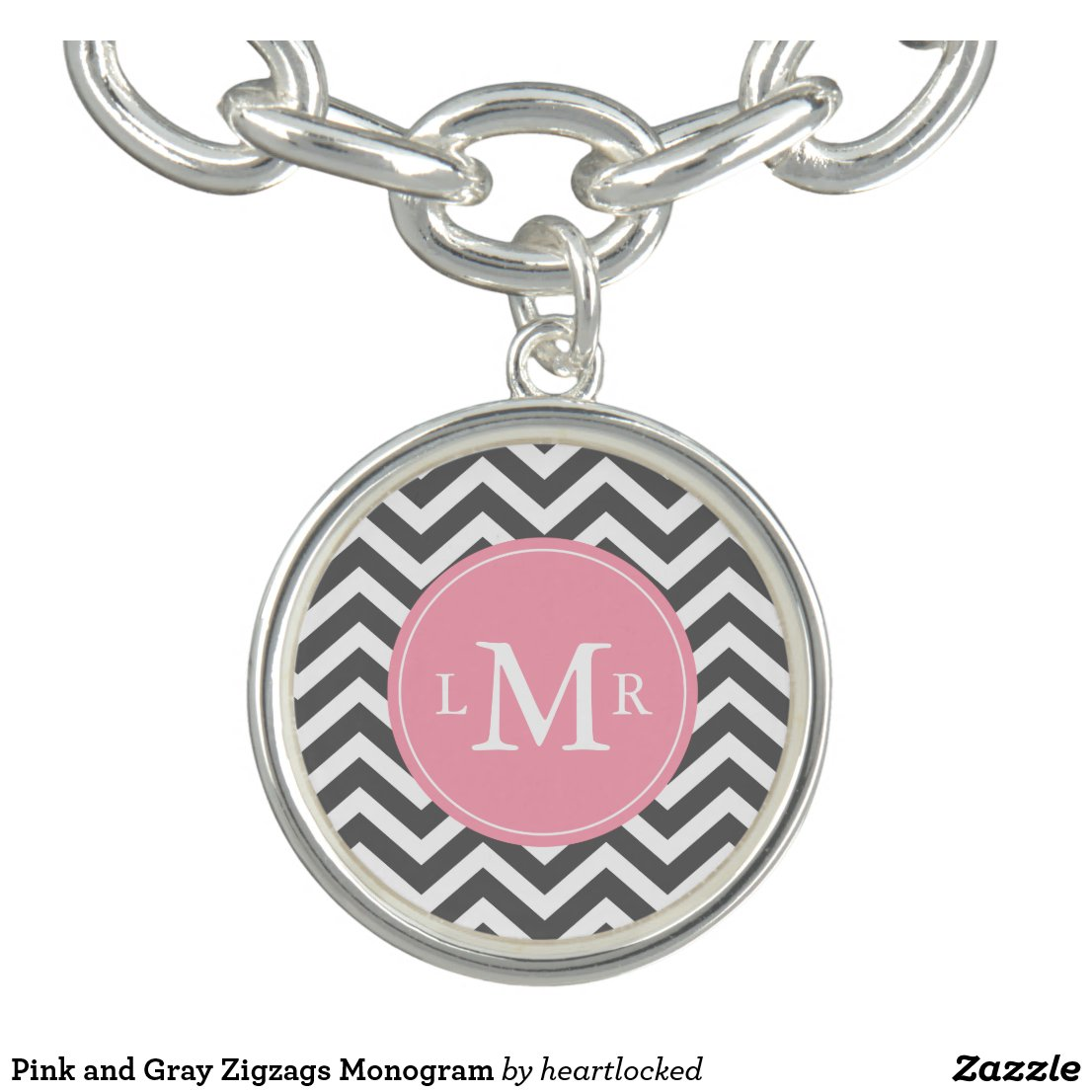 Pink and Grey Zigzags Monogram