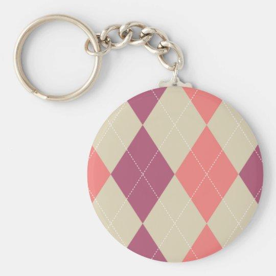 Pink and Ivory Argyle Keychain
