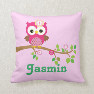 Pink and Jade Owl Keepsake Cushion Baby Gift