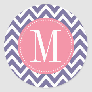 Pink and Lavender Chevron Custom Monogram Classic Round Sticker