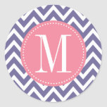 Pink and Lavender Chevron Custom Monogram Round Sticker