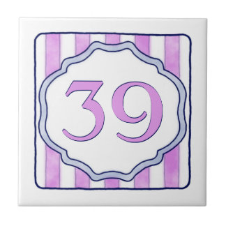 Pink and Lavender House Number Small Square Tile