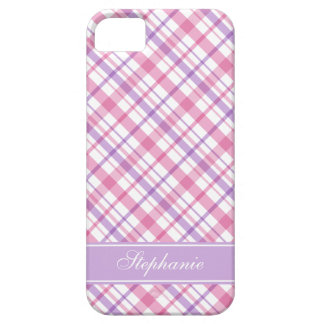 Pink and Lavender Plaid Pattern Barely There iPhone 5 Case