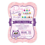 Pink and Lavender Purple; Owl Baby Shower 13 Cm X 18 Cm Invitation Card