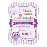 Pink and Lavender Purple Owl, Girl Baby Shower 13 Cm X 18 Cm Invitation Card