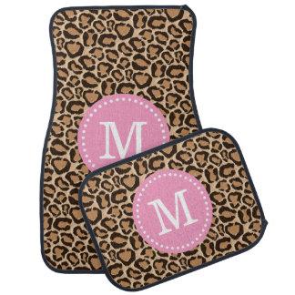 Pink and Leopard Print Custom Monogram Car Mat