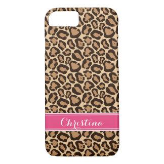 Pink and Leopard Print Custom Monogram iPhone 8/7 Case