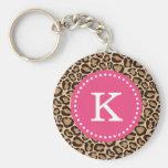 Pink and Leopard Print Custom Monogram Basic Round Button Key Ring
