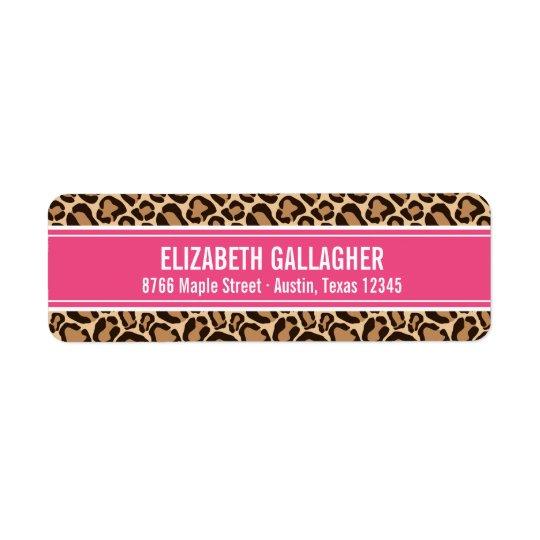 Pink and Leopard Print Return Address Label
