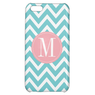 Pink and Light Blue Chevron Custom Monogram iPhone 5C Cover