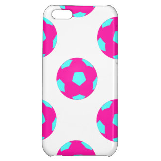 Pink and Light Blue Soccer Ball Pattern iPhone 5C Case