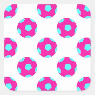 Pink and Light Blue Soccer Ball Pattern Sticker
