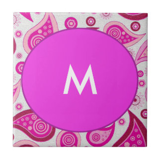 Pink and lilac paisley monogram tile