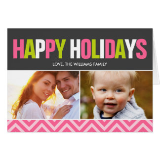 Pink and Lime Chevrons Holiday Greetings Greeting Card