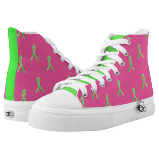 Pink and Lime Green Lyme Disease Shoes Printed Shoes