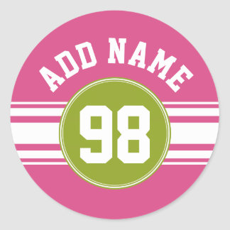 Pink and Lime Sports Jersey Custom Name Number Round Sticker
