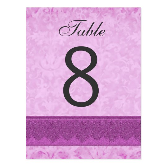 Pink and Magenta Wedding Table Number 8 V200 Postcard