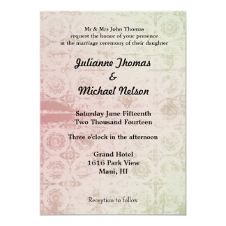 """Pink and Mint Abstract 5"""" X 7"""" Invitation Card"""
