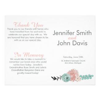 Pink and Mint Green Flowers Wedding Program 21.5 Cm X 28 Cm Flyer