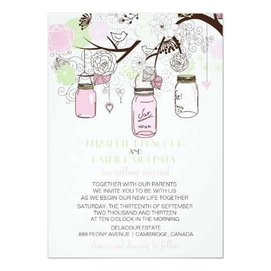 Pink and Mint Green Mason Jars Wedding Invitation