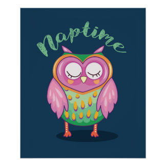 Pink and Mint Owl Nap Time Poster
