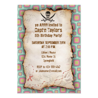 Pink and Mint Retro Jolly Roger 13 Cm X 18 Cm Invitation Card