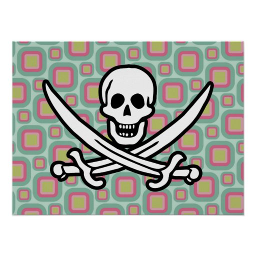 Pink and Mint Retro Jolly Roger Poster