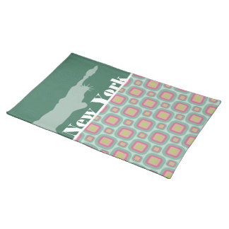 Pink and Mint Retro, New York; Statue of Liberty Place Mat