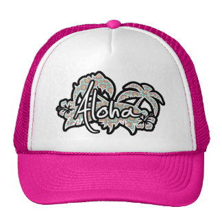 Pink and Mint Retro Pattern; Aloha Trucker Hat