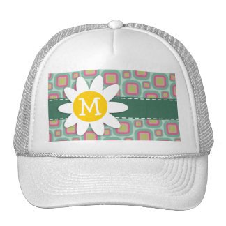Pink and Mint Retro Pattern; Daisy Mesh Hat