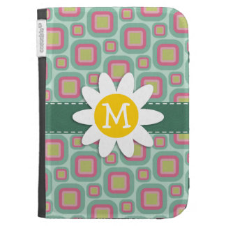 Pink and Mint Retro Pattern Daisy Kindle 3G Cover