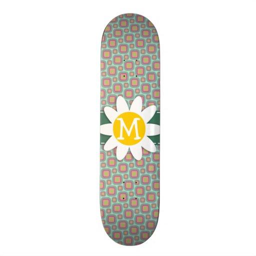 Pink and Mint Retro Pattern; Daisy Skate Board Decks