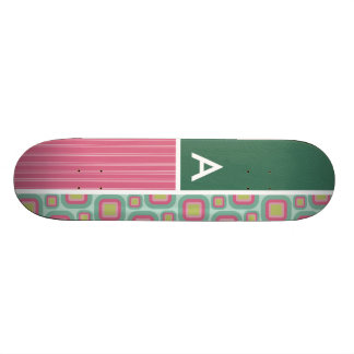 Pink and Mint Retro Pattern Custom Skate Board