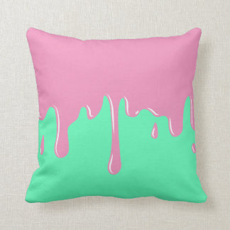 Pink and Mint Slime Dripping Throw Pillow