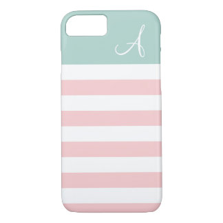 Pink and Mint Striped Monogram iPhone 7 Case