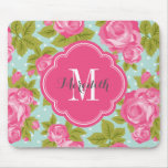 Pink and Mint Vintage Roses Monogram