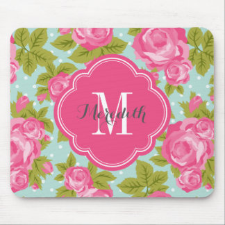 Pink and Mint Vintage Roses Monogram Mouse Mat