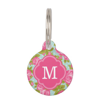 Pink and Mint Vintage Roses Monogram Pet Nametags