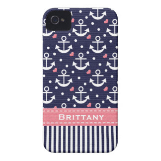 Pink and Navy Anchor iPhone 4 Covers
