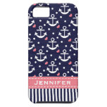Pink and Navy Anchor iPhone 5 Case
