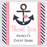 Pink and Navy Anchor Party Favour Stickers