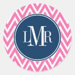 Pink and Navy Blue Chevrons Monogram Round Sticker