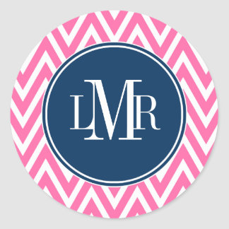 Pink and Navy Blue Chevrons Monogram Round Stickers