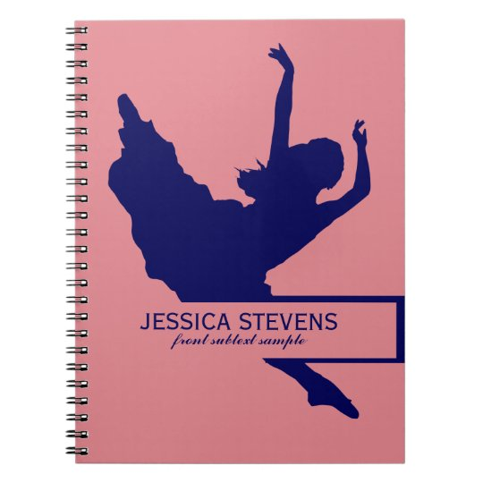 Pink And Navy Blue Dancer Silhouette Illustration Notebooks