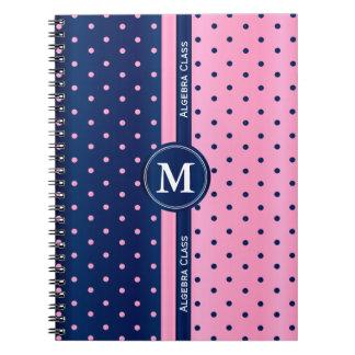 Pink and Navy Blue Polka Dots Notebook