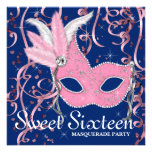 Pink and Navy Blue Sweet Sixteen Party Announcements