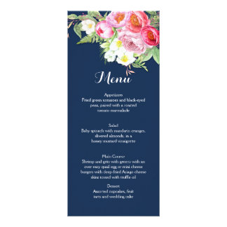 Pink and Navy Blue Watercolor Flowers Menu Cards