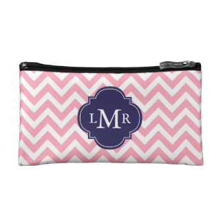 Pink and Navy Blue Zigzags Monogram Cosmetic Bag